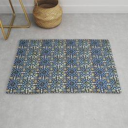 Blue, Yellow and Orange Portuguese Tile  Rug
