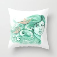 ships Throw Pillows featuring Paper ships by Pendientera