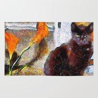 van gogh Area & Throw Rugs featuring Black Cat Van Gogh by ADH Graphic Design