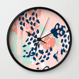 Kala - abstract painting minimal coral mint navy color palette boho hipster decor nursery Wall Clock