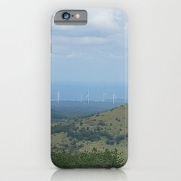 Oreum, windmill, and the harmony of the sea , Jeju Island, Korea. iPhone Case