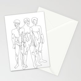 one line male figures Stationery Cards