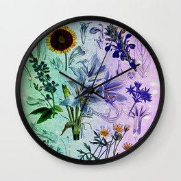 Botanical Study #2, Vintage Botanical Illustration Collage Art Wall Clock