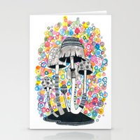 mushrooms Stationery Cards featuring Mushrooms by Asja Boros
