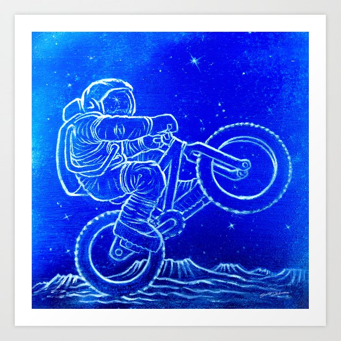 Astronaut Bicycle 1 Art Print