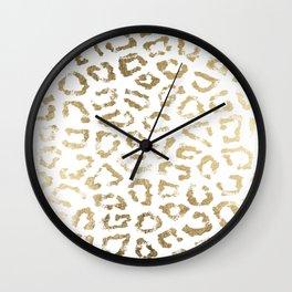 Modern white chic faux gold foil leopard print Wall Clock
