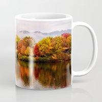 north carolina Mugs featuring Lake Junaluska, North Carolina by Mary Timman