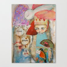 Your story matter - girl and bird inspirational art Canvas Print