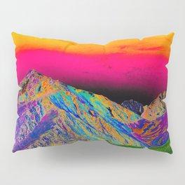 California's Sierra Mts-Digital Art, Green & Purple Pillow Sham