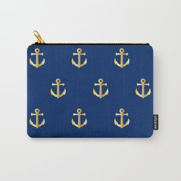 Gold Anchor Pattern on a Blue Background Carry-All Pouch