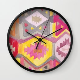 Kilim Me Softly in Pink Wall Clock
