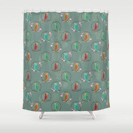 Tiki Birds Dark Shower Curtain