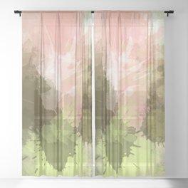Army Green Meets Pink paint splatter Sheer Curtain