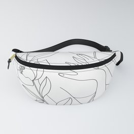 Minimal Line Art Woman with Peonies Fanny Pack