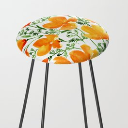 Watercolor California poppies Counter Stool