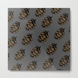 Gray Pinecone Pattern Metal Print