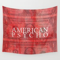 psycho Wall Tapestries featuring American Psycho by Robert Payton