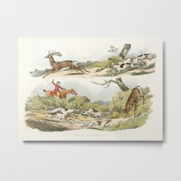 Illustration of a hunter with dogs chasing a stag from the vintage book Sporting Sketches (1817-1818 Metal Print