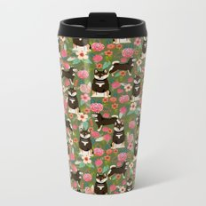 Shiba Inu black and tan fur coat dog breed must have cute gifts for shiba inu owners pet portraits Metal Travel Mug