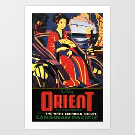 To the Orient, Canadian Pacific - Vintage Travel Poster Art Print