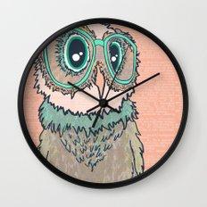 Owl wearing glasses II Wall Clock