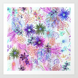 Eden Floral Multi White Art Print