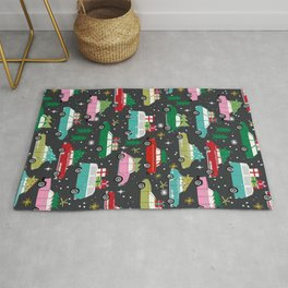 Christmas pattern print vintage cars holiday gifts presents christmas trees cute decor Rug