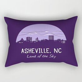 Asheville Cityscape - Land of the Sky - AVL 7 Purple Rectangular Pillow