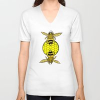 bees V-neck T-shirts featuring Bees by Chelsey Hamilton