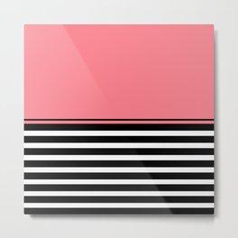 Black + White And Coral Pink Metal Print