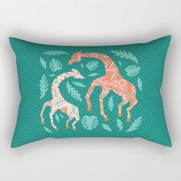 Pink Dancing Giraffes on Teal Green Rectangular Pillow