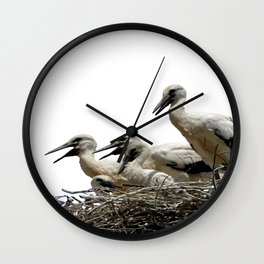Storks and Fledglings Vector Wall Clock