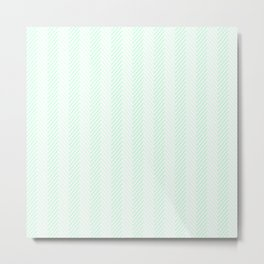 Pale Green Summermint Pastel Green Mint Herringbone Metal Print