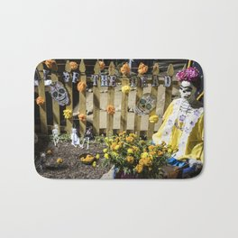 Day of the Dead Cemetery Altar with Marigolds and Frida Kahlo Skeleton Lady Bath Mat