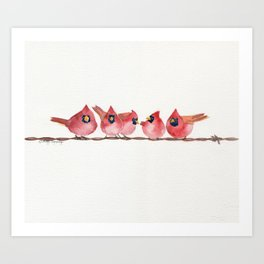 Cardinal on the wire Art Print