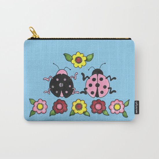 Ladybugs in Pink & Black Carry-All Pouch