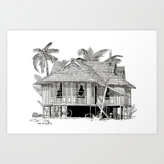 Rumah Kampung (Large) Art Print