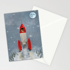 mr fox goes to the moon Stationery Cards