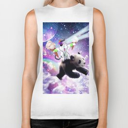 Lazer Rave Space Cat Riding Panda Eating Ice Cream Biker Tank