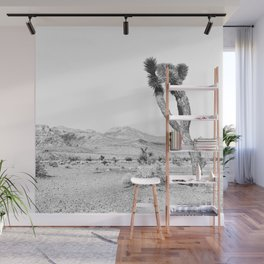 Vintage Desert Scape B&W // Cactus Nature Summer Sun Landscape Black and White Photography Wall Mural