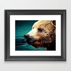 HAPPY GRIZZLY Framed Art Print
