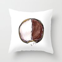 seinfeld Throw Pillows featuring Seinfeld Black + White Cookie by Snack Paintings