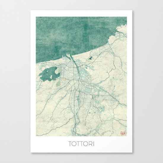 Tottori Map Blue Vintage Canvas Print