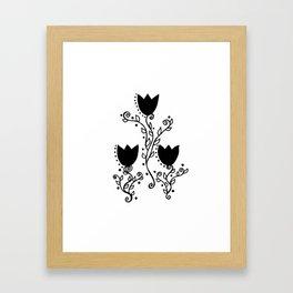 Three Tulips Doodle Art – Black Graphic Framed Art Print