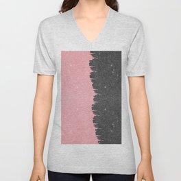 Pretty Girly Pink Black Faux Glitter Brushstroke Unisex V-Neck