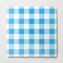 Blue Gingham Pattern Metal Print