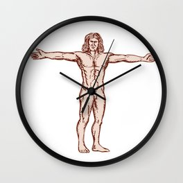 Vitruvian Man Arms Spread Front Etching Wall Clock