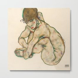 "Egon Schiele ""Crouching nude girl"" Metal Print"