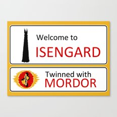 Isengard Twinned With Mordor Road Sign Canvas Print