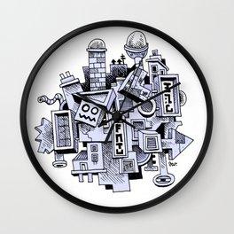 Jumbled City full of assorted junnk Wall Clock